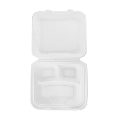 9in square 3-compartment Bagasse Lunch Box