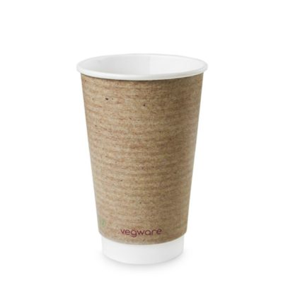 16oz Double Wall Brown Kraft Hot Cup, 89 Series