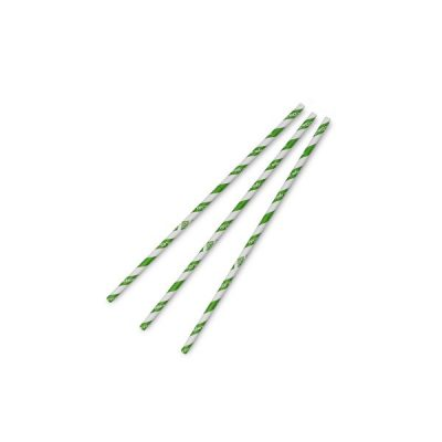 Standard green stripe 6mm paper straw, 7.8in