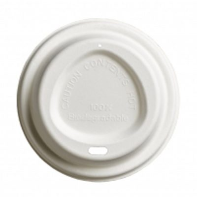 90mm BAGASSE LIDS FOR HOT CUPS – HOME COMPOSTABLE (Fits 12-16oz cups)
