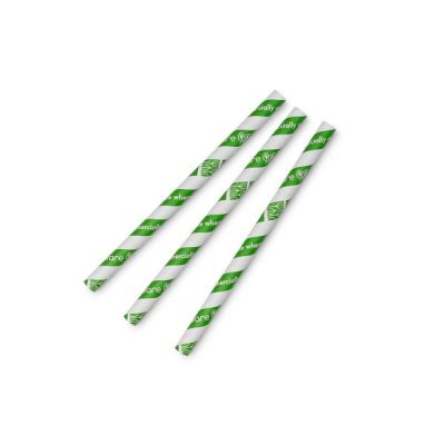 Jumbissimo green stripe 10mm paper straw, 7.8in